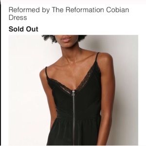 Reformation black zipper dress